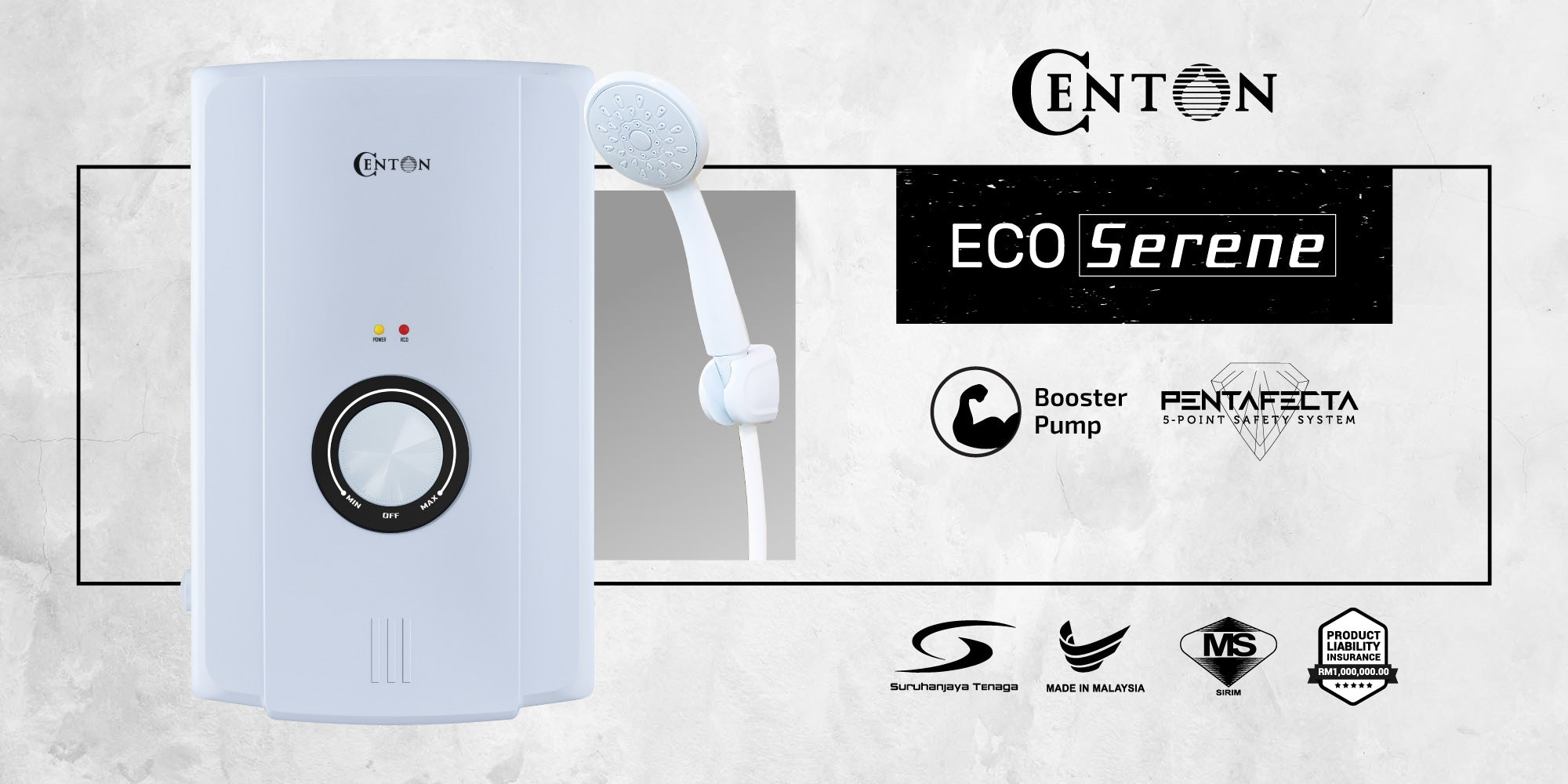 CENTON EcoSerene AC Instant Water Heater with AC Booster Pump