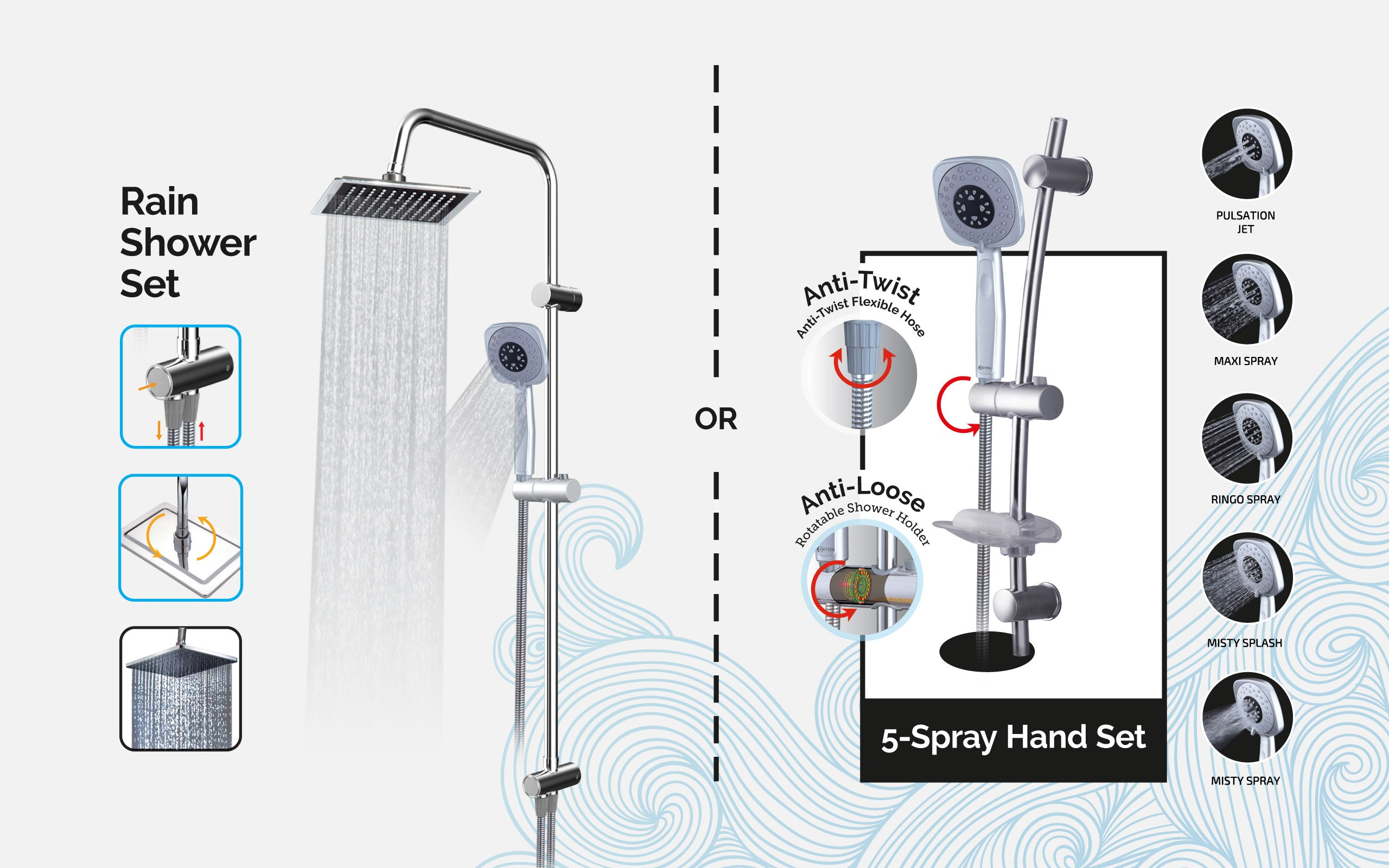 CENTON Accessories | Shower Railings and Rain Shower Set