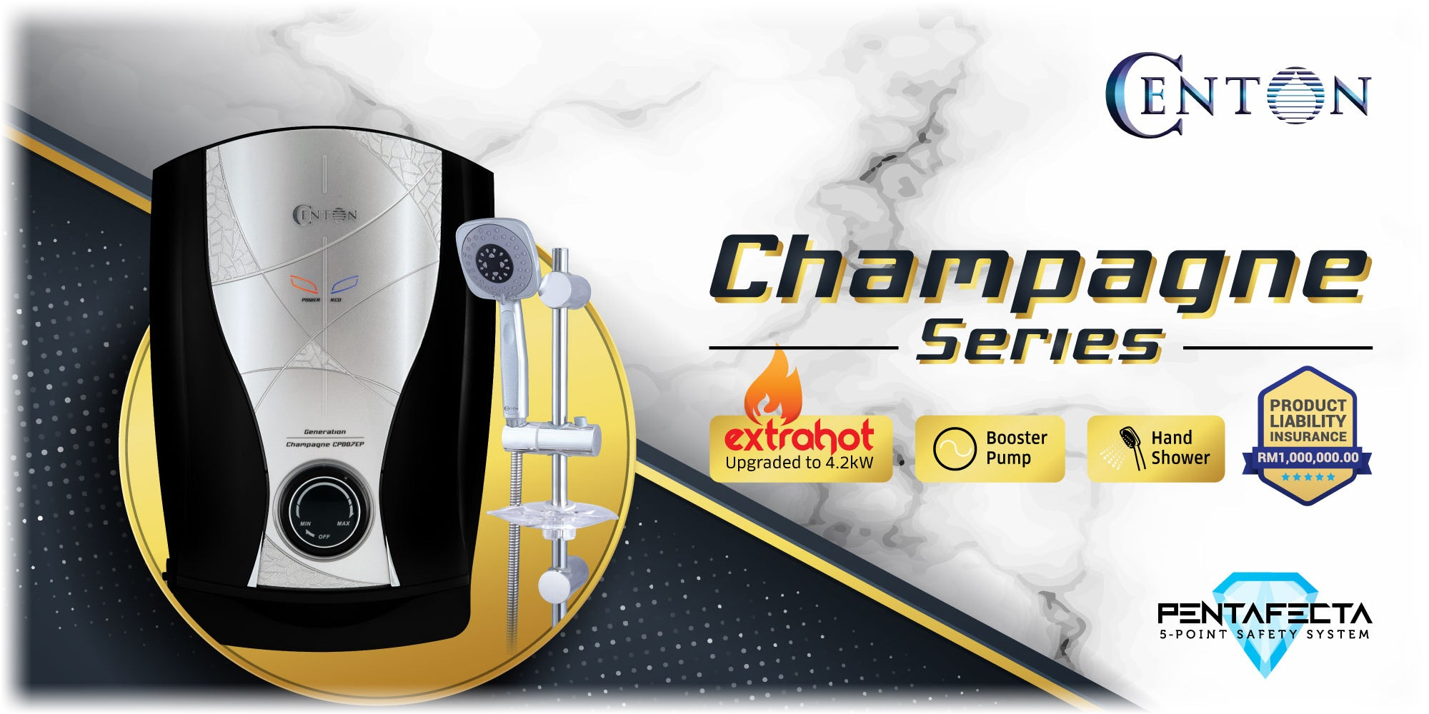 CENTON Champagne Extra Hot Instant Water Heater with AC Booster Pump