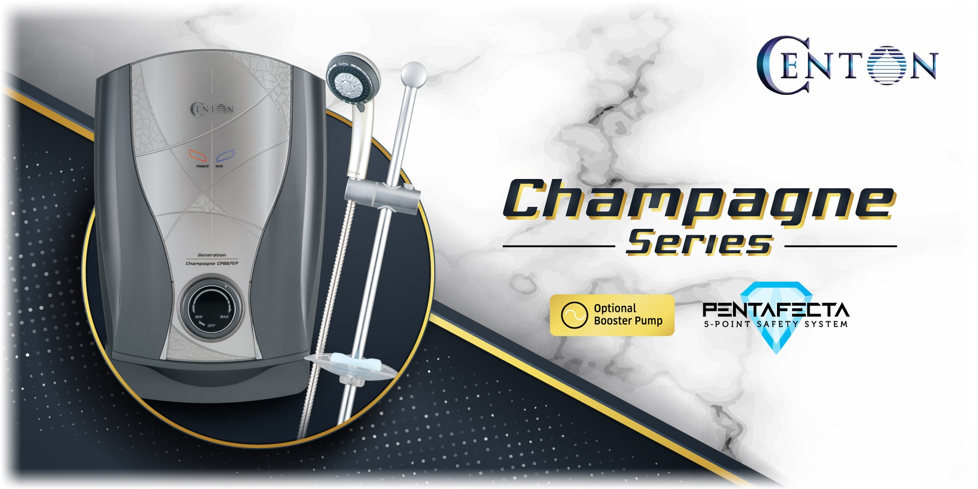 CENTON Champagne Series with PentaFecta Safety System | Solid Grey Pearl