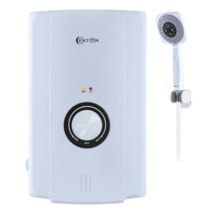 CENTON EcoSerene Instant Shower Water Heater + Shower Bracket | White