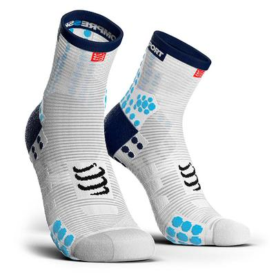 Calcetines Pro Racing Socks RUN High V3 Blanco/Azul - Aqua Zone
