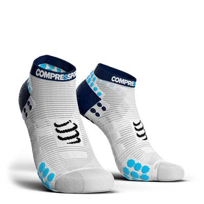 Calcetines Pro Racing Socks RUN Low V3 Blanco/Azul - Aqua Zone