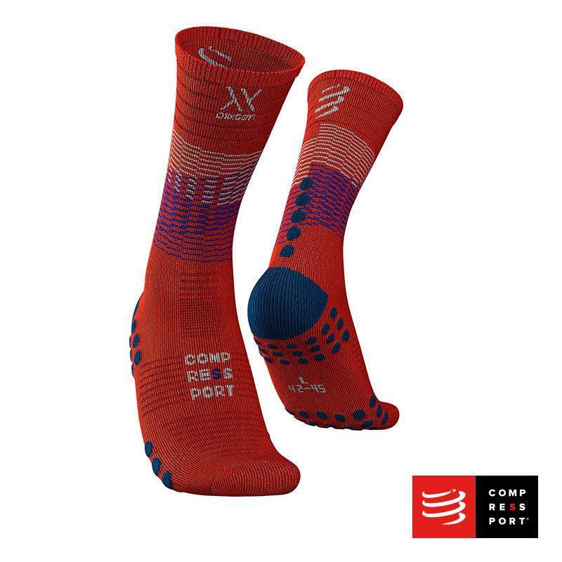 Calcetín Mid Compression Black/Blood Orange - Aqua Zone