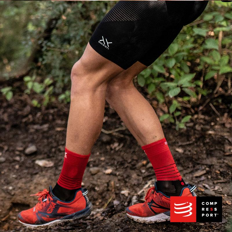 Nuevo Calcetín Mid Compression Negro/Rojo Compressport - Aqua Zone