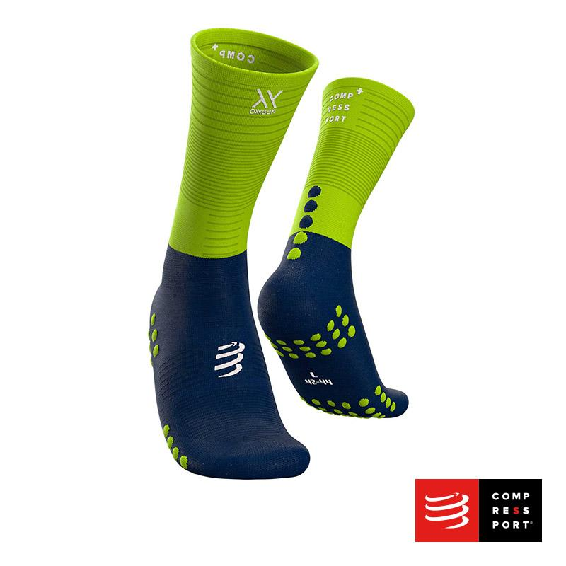 Nuevo Calcetín Mid Compression Azul/Lima Compressport - Aqua Zone