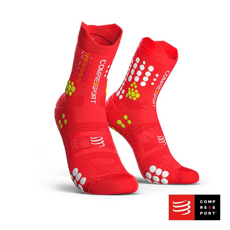 Calcetines COMPRESSPORT Pro Racing Socks TRAIL V3 Rojo/Blanco - Aqua Zone