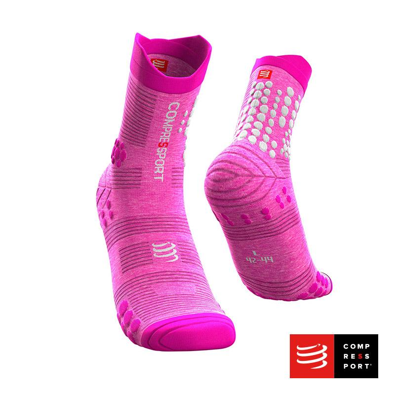 Calcetines COMPRESSPORT Pro Racing Socks Trail V3 Pink/Melange - Aqua Zone