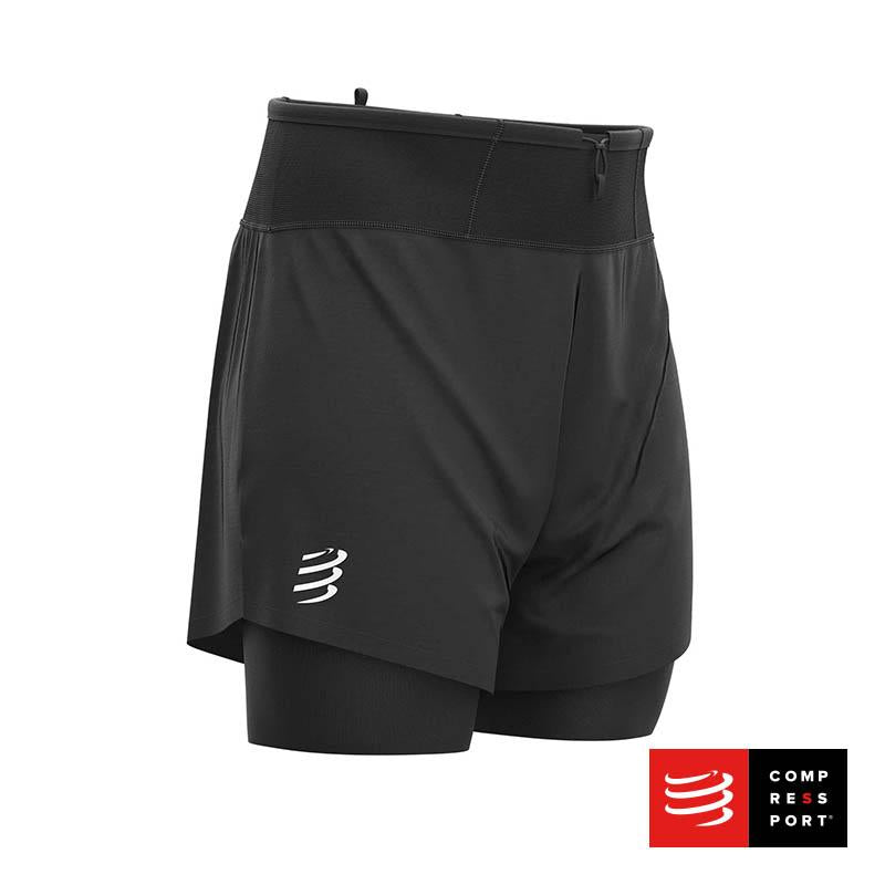 Trail 2 en 1 Short Negro Compressport - Aqua Zone