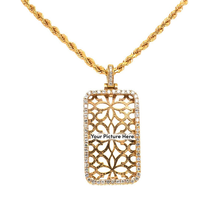 10KT Rose Gold 1.50ctw Round Cut Prong Set Diamond Rectangle Memory Pendant - Giorgio Conti Jewelers
