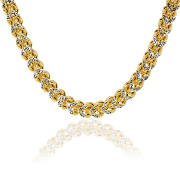 10KT Two Tone Gold Pave Square Franco Chain - Giorgio Conti Jewelers