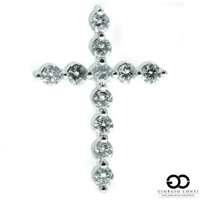 10kt White Gold 11 Diamond Cross Pendant - Giorgio Conti Jewelers