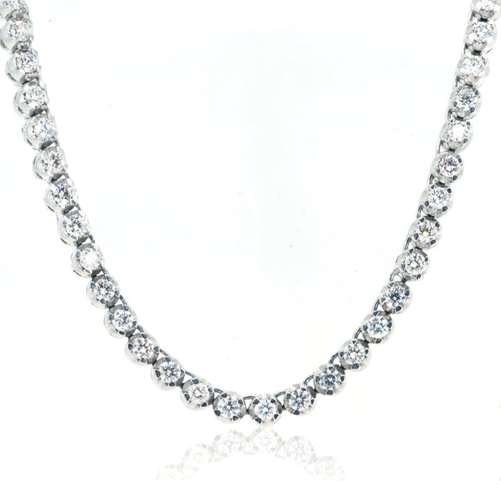 10KT White Gold 15.79CTW Brilliant Round Diamond Necklace - Giorgio Conti Jewelers