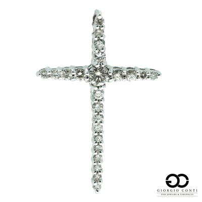 10kt White gold 23 Diamond cross Pendant .85ctw - Giorgio Conti Jewelers