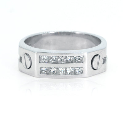 10KT White Gold Princess Cut Channel Set 0.80ctw Diamond Mens Ring - Giorgio Conti Jewelers