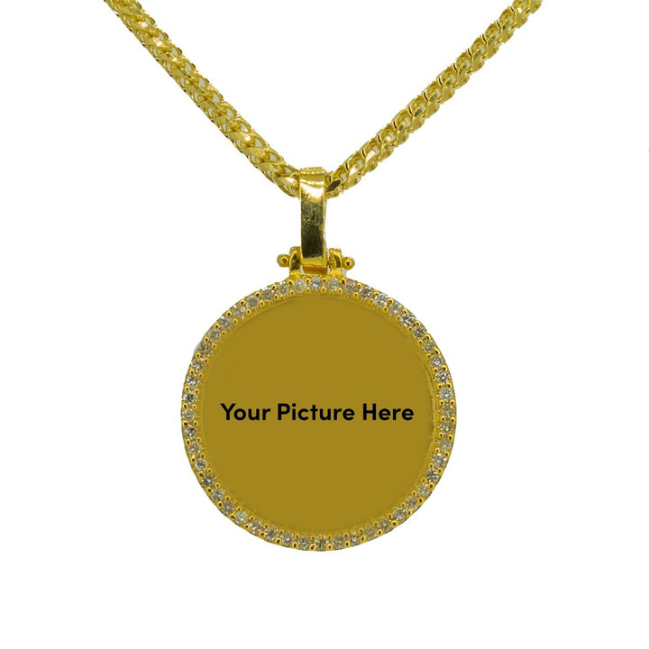 10KT Yellow Gold 0.85ctw Round Cut Prong Set Diamond Circle Memory Pendant - Giorgio Conti Jewelers