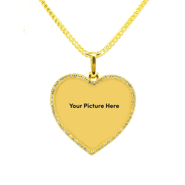 10KT Yellow Gold 1.00ctw Round Cut Prong Set Diamond Heart Memory Pendant - Giorgio Conti Jewelers