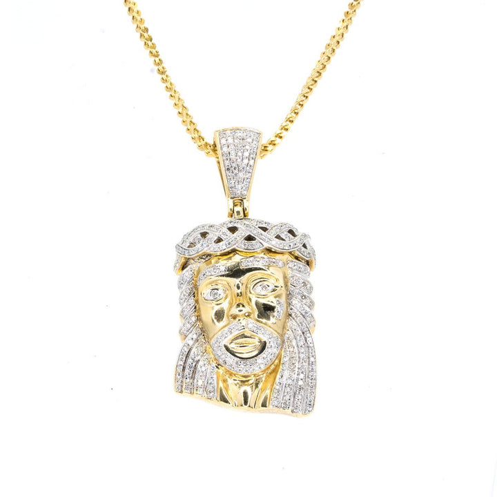 10KT Yellow Gold 1.65CTW Diamond Jesus Pendant - Giorgio Conti Jewelers