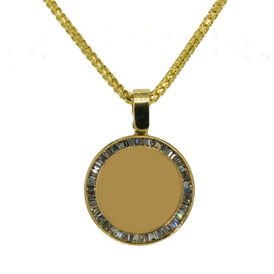 10KT Yellow Gold 1.86ctw Baguette Cut Channel Set Diamond Circle Memory Pendant - Giorgio Conti Jewelers