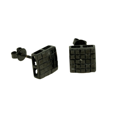 10KT Yellow Gold 2.04ctw Princess Cut Invisible Set Black Diamond Earrings - Giorgio Conti Jewelers