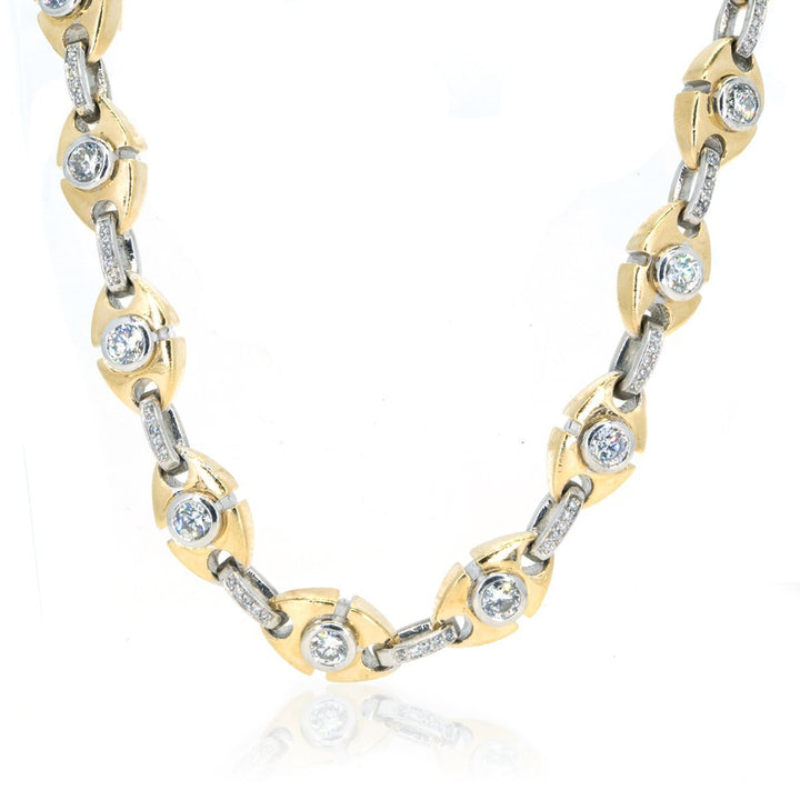 10KT Yellow Gold 26.30CTW Brilliant Round Diamond Link Necklace - Giorgio Conti Jewelers