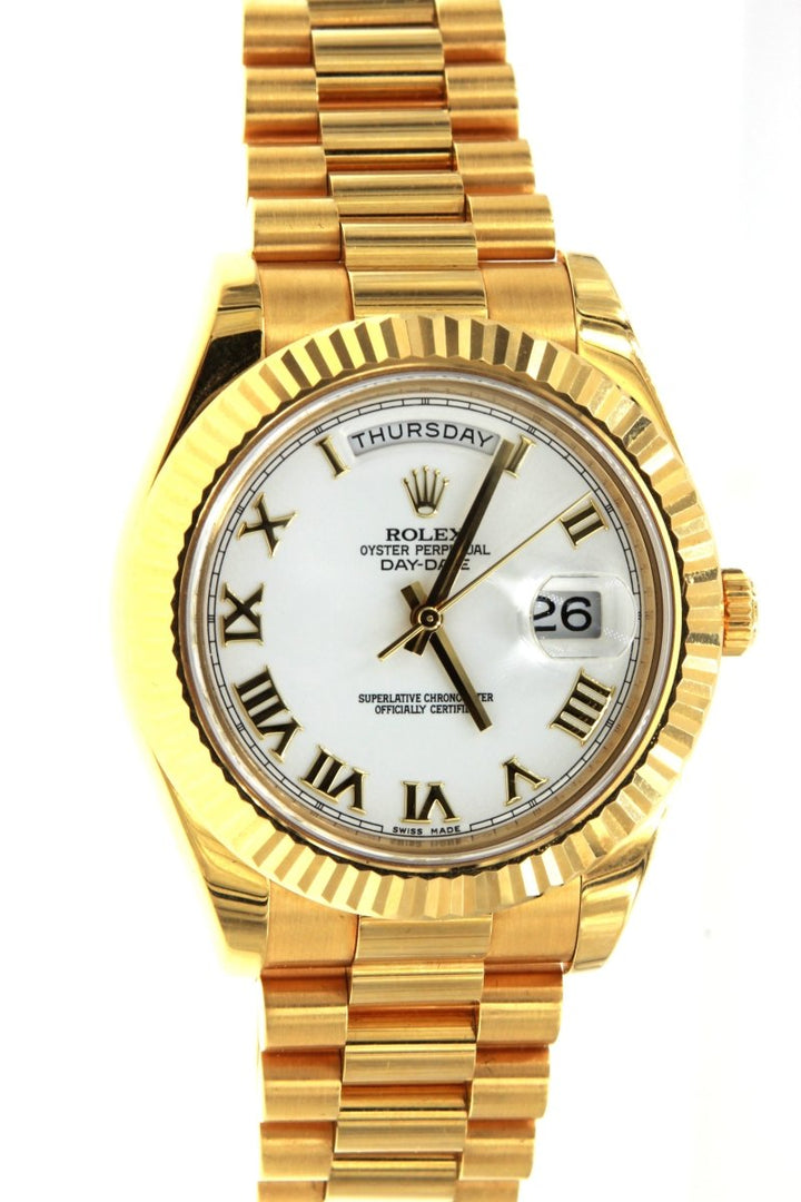 Rolex President Day Date 218238 Yellow Gold 41MM Fluted Bezel Factory Mens Watch - Giorgio Conti Jewelers