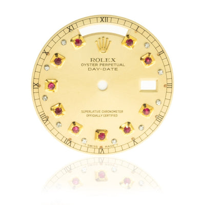 Rolex Day-Date President 36MM Yellow Gold Ruby Diamond Champagne Watch Dial - Giorgio Conti Jewelers