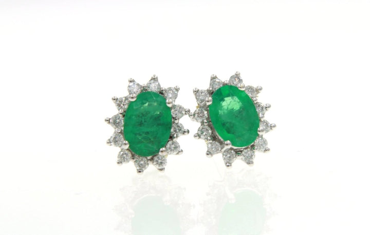 14K White Gold Emerald And Diamond Earrings - Giorgio Conti Jewelers