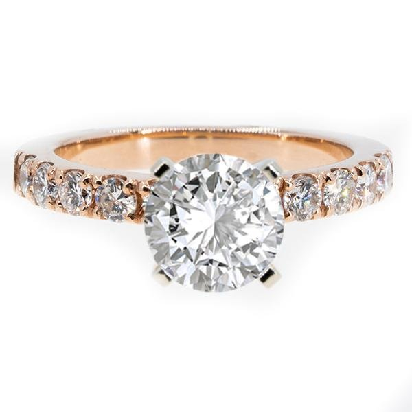 14KT Rose Gold 0.80ctw Round Cut Prong Set Diamond Engagement Ring - Giorgio Conti Jewelers
