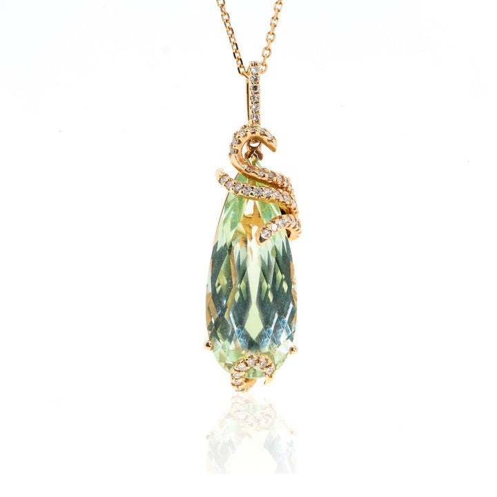 14kt Rose Gold 10.30ctw Diamond With Prasolite Gemstone Drop Pendant - Giorgio Conti Jewelers
