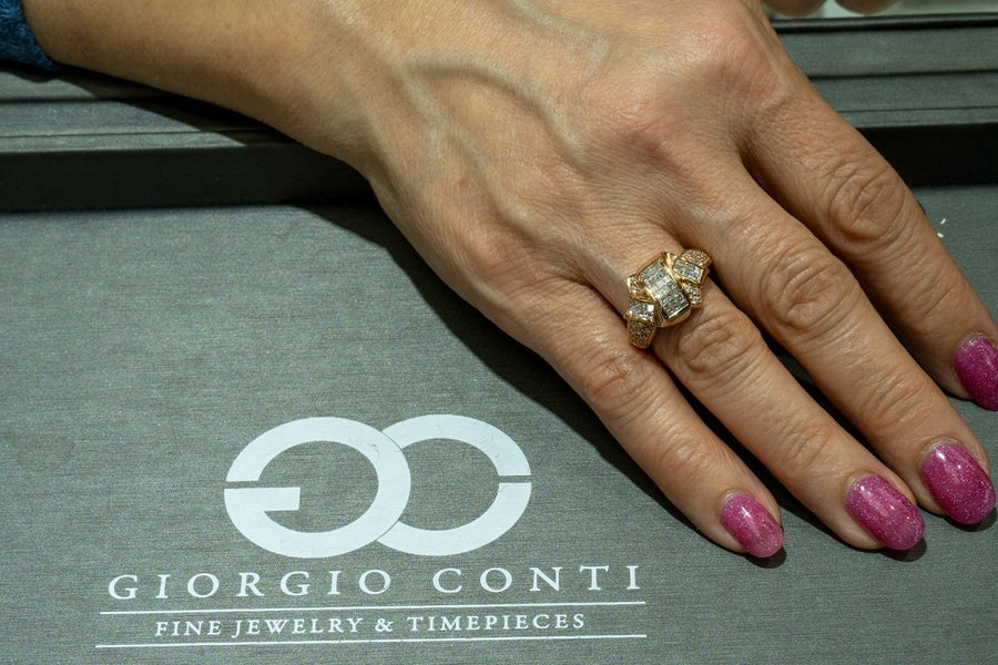 14KT Rose Gold 1.16CTW Princess and Round Brilliant Cut Natural Diamond Band - Giorgio Conti Jewelers