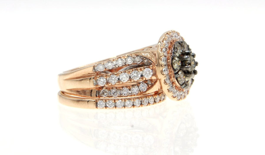 14KT Rose Gold 2.00CTW Chocolate Diamond and White Diamond Engagement & Wedding Band Set - Giorgio Conti Jewelers