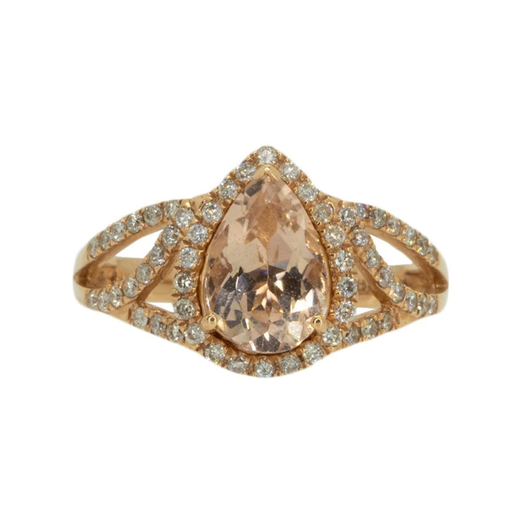14KT Rose Gold 2.20ctw Pear Cut Prong Set Morganite and Round Cut Prong Set Diamond Halo Ring - Giorgio Conti Jewelers