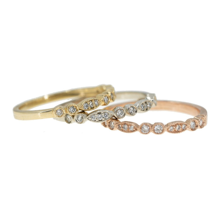 14KT Tri Color Diamond Stackable Ring Set With Miligrain Design - Giorgio Conti Jewelers