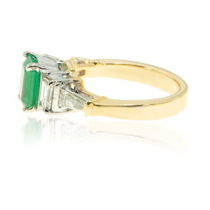 14KT Two Tone Gold 2.70CTW Diamond NATURAL Colombian Emerald Ring - Giorgio Conti Jewelers