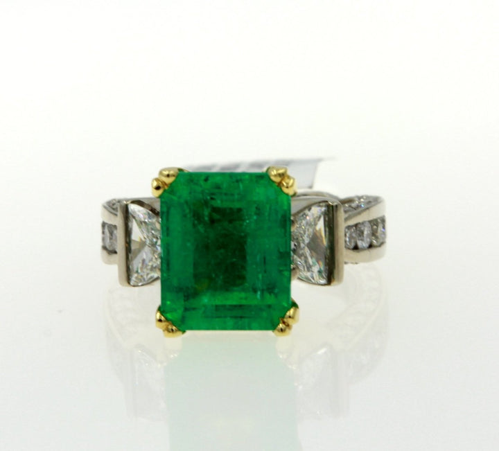 14KT Two Tone Gold 9.55CTW Colombian Emerald Diamond Ring - Giorgio Conti Jewelers