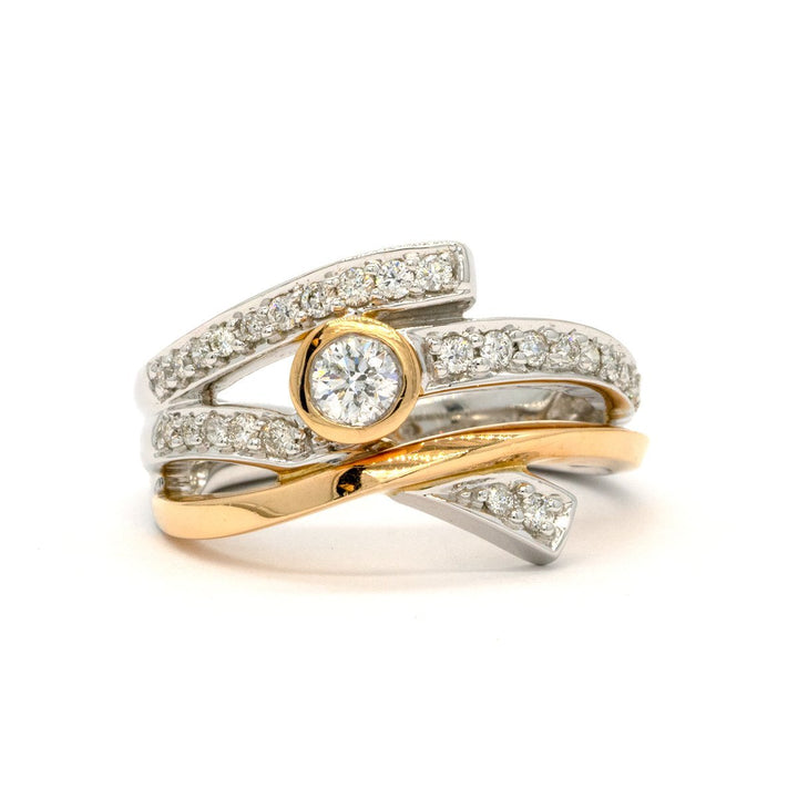 14KT Two Tone Rose and White Gold 0.50CTW Round Brilliant Cut Pave and Bezel Set Natural Diamond Cocktail Ring - Giorgio Conti Jewelers