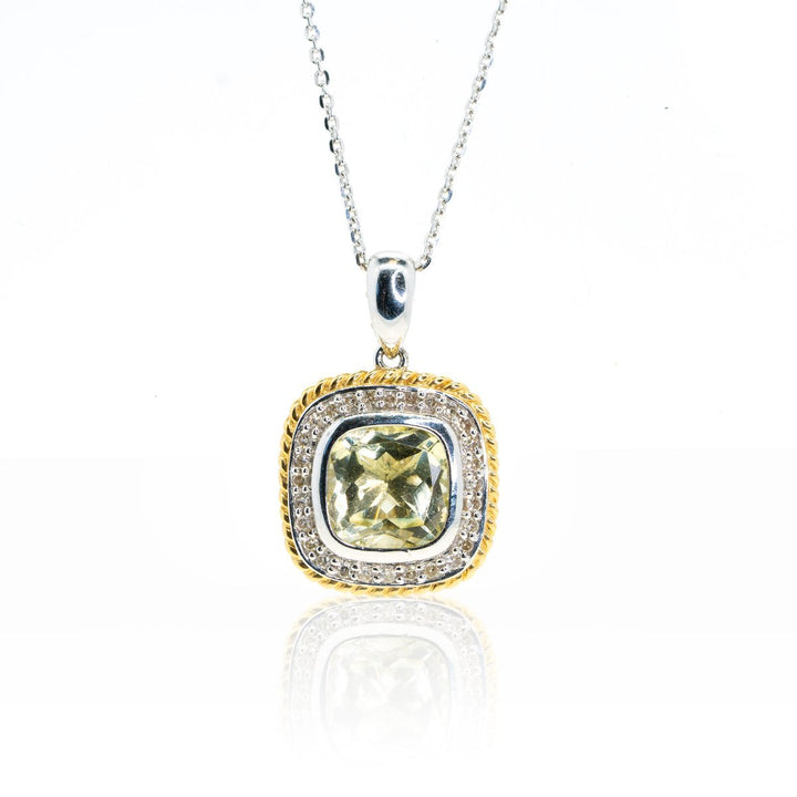 14kt Two Tone White Gold Lemon Quartz and Diamond Statement Pendant With Roping Design - Giorgio Conti Jewelers