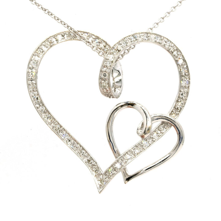 14KT White Gold 0.21CTW Round Cut Pave Set Diamond Heart Pendant - Giorgio Conti Jewelers