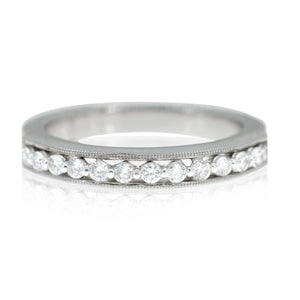14KT White Gold 0.25CTW Raised Diamond Ring with miligrain design - Giorgio Conti Jewelers