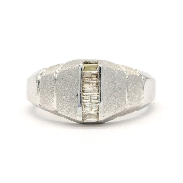 14KT White Gold 0.38CTW Baguette Cut Channel Set Natural Diamond Mens Ring - Giorgio Conti Jewelers