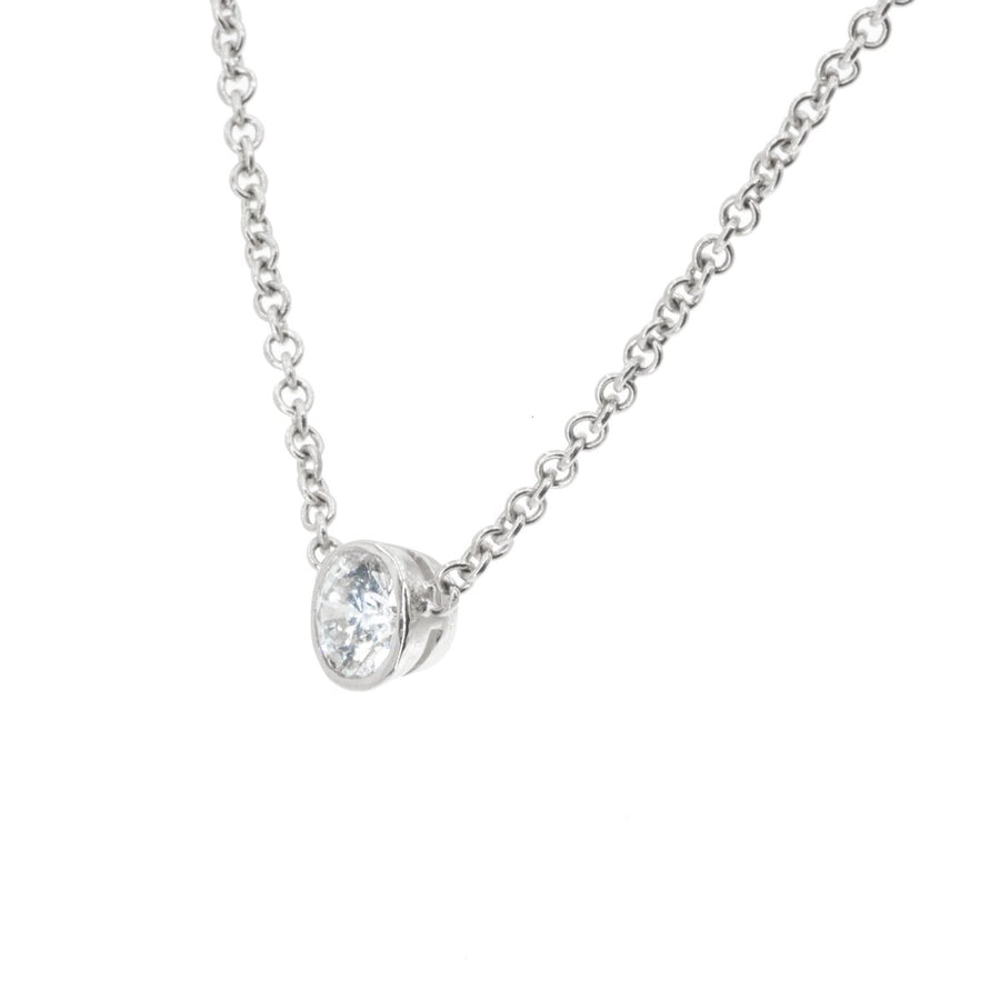 14KT White Gold 0.45CT Round Brilliant Cut Solitare Pendant With Chain - Giorgio Conti Jewelers