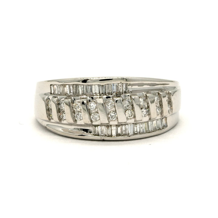 14KT White Gold 0.45CTW Baguette and Round Brilliant Cut Natural Diamond Cocktail Ring - Giorgio Conti Jewelers