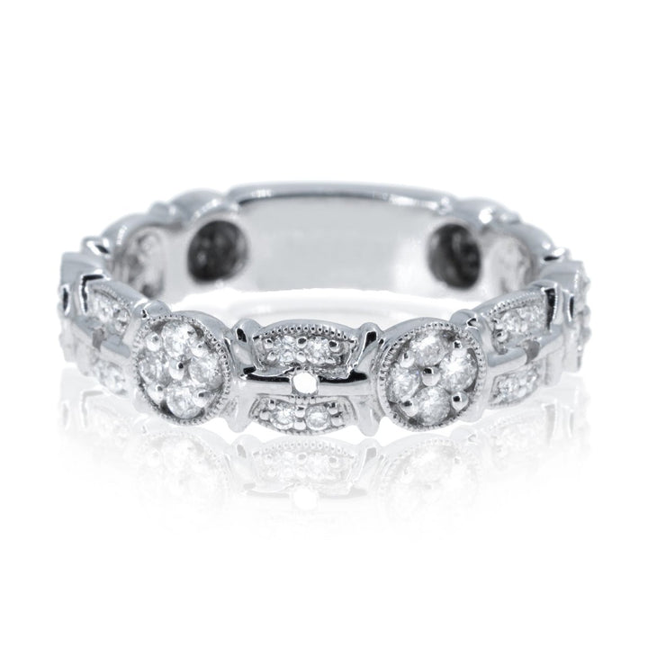 14KT White Gold 0.45CTW Eliptic Diamond Band - Giorgio Conti Jewelers