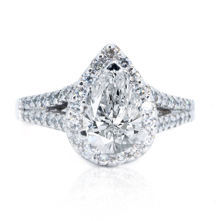 14KT White Gold 0.48ctw Pear Cut Prong Set Diamond Engagement Ring - Giorgio Conti Jewelers