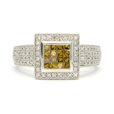 14KT White Gold 0.65CTW Princess and Round Brilliant Cut Natural Yellow and White Diamond Halo Cocktail Ring - Giorgio Conti Jewelers