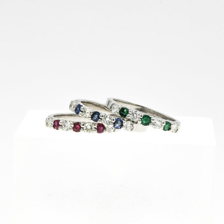 14KT White Gold 0.70CTW Gemstone & Diamond Stackable Ring Ruby Emerald and Sapphire - Giorgio Conti Jewelers