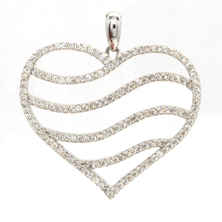 14KT White Gold 0.74CTW Round Cut Pave Set Diamond Wave Heart Pendant - Giorgio Conti Jewelers