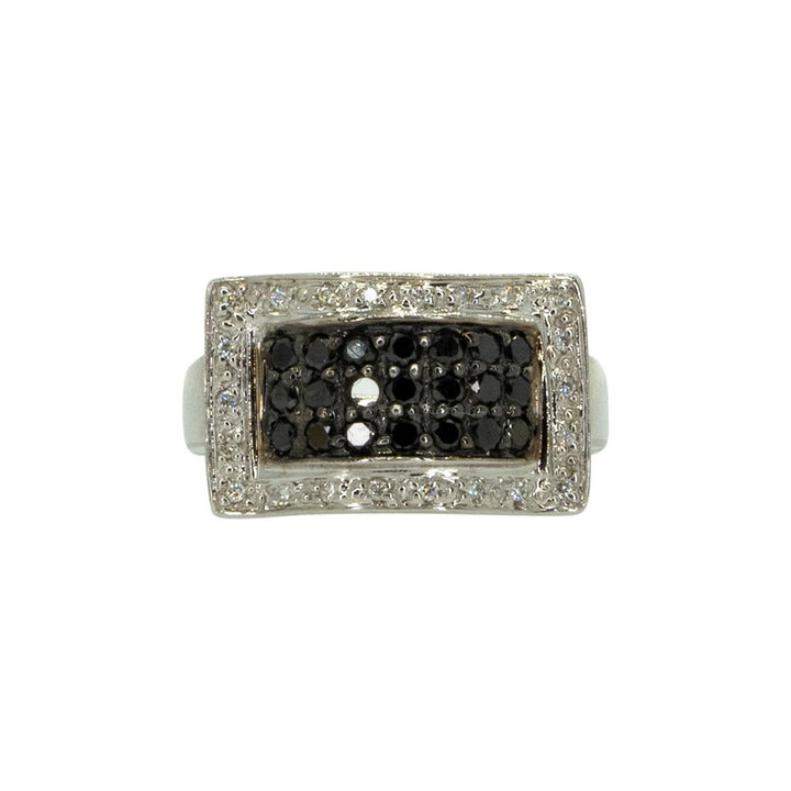 14KT White Gold 0.75ctw Round Cut Pave Set Black and White Diamond Cocktail Ring - Giorgio Conti Jewelers