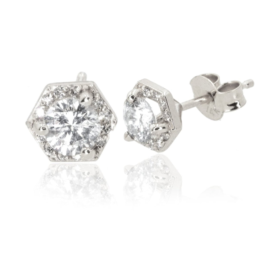 14KT White Gold 0.77CTW Hexagon Halo Stud Earrings - Giorgio Conti Jewelers